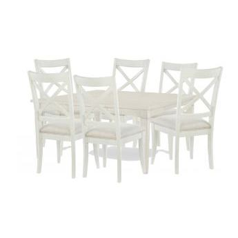 Legacy Rachael Ray Everyday 7 Piece Gathering Rectangular to Square Leg Dining Room Set w/X-Back Chais in Sea Salt