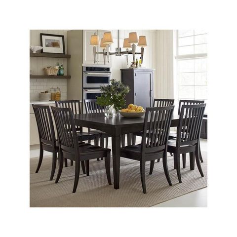 Legacy Rachael Ray Everyday 9 Piece Gathering Rectangular to Square Leg Dining Room Set in Peppercorn