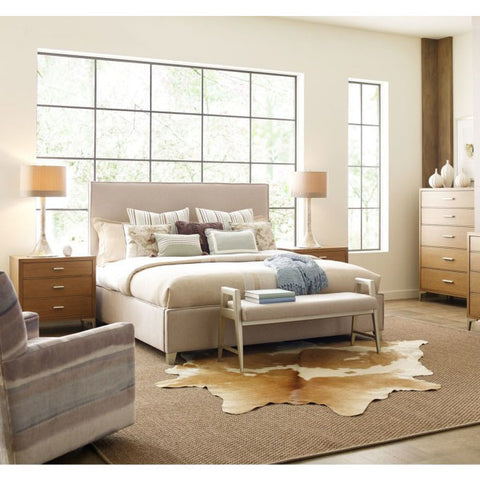 Legacy Rachael Ray Hygge 5 Piece Upholstered Bedroom Set w/Bench in Cashmere