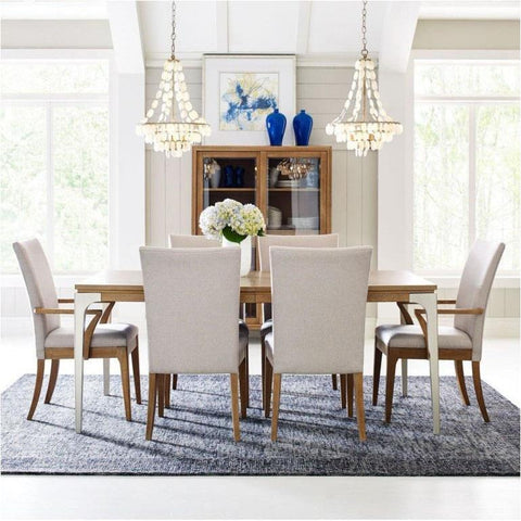 Legacy Rachael Ray Hygge 8 Piece Leg Dining Room Set w/Upholstered Chairs in Cashmere