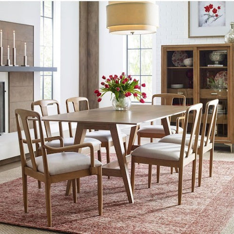 Legacy Rachael Ray Hygge 8 Piece Trestle Dining Room Set in Cashmere