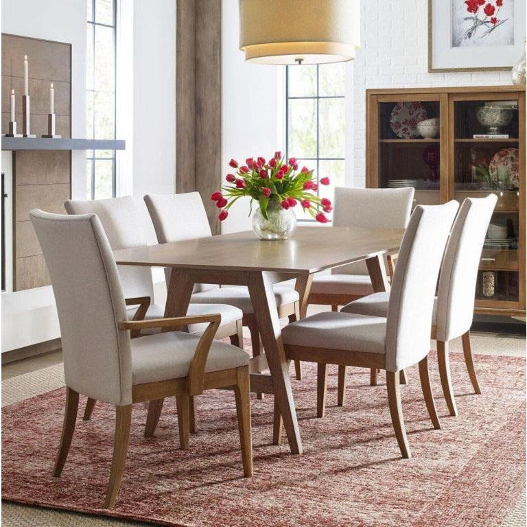Remarkable Legacy Rachael Ray Hygge 8 Piece Trestle Dining Room Set W Upholstered Chairs In Cashmere Bralicious Painted Fabric Chair Ideas Braliciousco