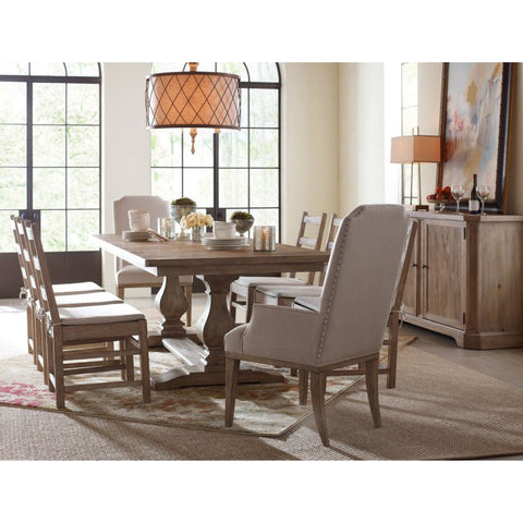 Legacy Rachael Ray Monteverdi 10 Piece Rectangular Trestle Dining Room Set in Sun-Bleached Cypress