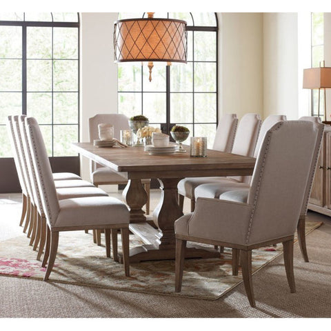 Legacy Rachael Ray Monteverdi 11 Piece Rectangular Trestle Dining Room Set in Sun-Bleached Cypress