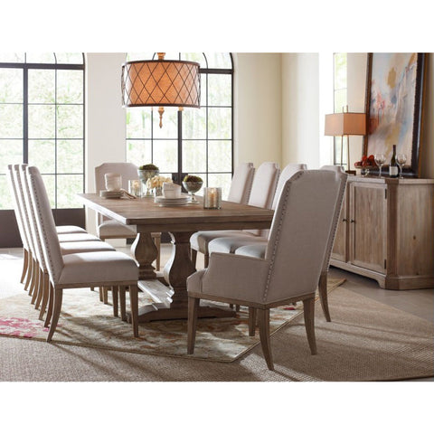 Legacy Rachael Ray Monteverdi 12 Piece Rectangular Trestle Dining Room Set in Sun-Bleached Cypress