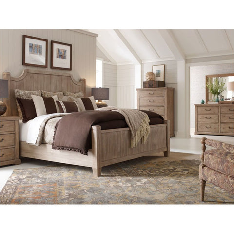 Legacy Rachael Ray Monteverdi 4 Piece Low Post Bedroom Set in Sun-Bleached Cypress