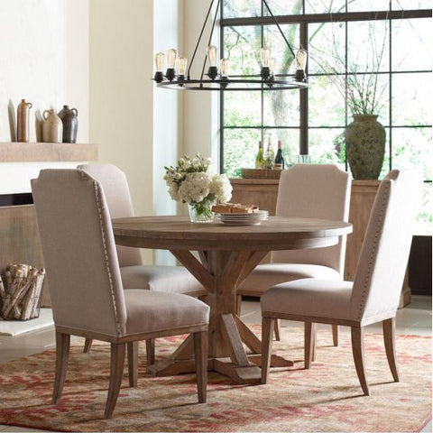 Legacy Rachael Ray Monteverdi 5 Piece Pedestal Dining Room Set w/Upholstered Chairs in Sun-Bleached Cypress