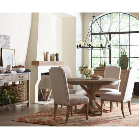 Legacy Rachael Ray Monteverdi 7 Piece Pedestal Dining Room Set w/Upholstered Chairs in Sun-Bleached Cypress