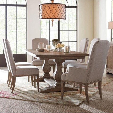 Legacy Rachael Ray Monteverdi 7 Piece Rectangular Trestle Dining Room Set in Sun-Bleached Cypress