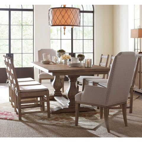 Legacy Rachael Ray Monteverdi 9 Piece Rectangular Trestle Dining Room Set in Sun-Bleached Cypress