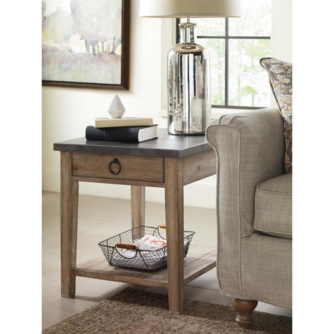 Legacy Rachael Ray Monteverdi Metal Top End Table in Sun-Bleached Cypress
