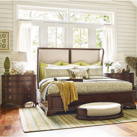 Legacy Rachael Ray Upstate 3 Piece Upholstered Shelter Bedroom Set in Conciare Cherry