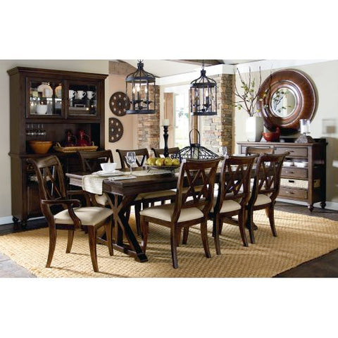 Legacy Thatcher Nine Piece Trestle Dining Set In Amber