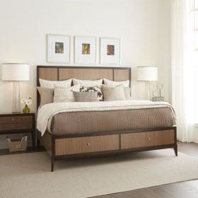 Legacy Urban Rhythm 3 Piece Panel Bedroom Set w/Storage Footboard in Chocolate & Dark Chocolate