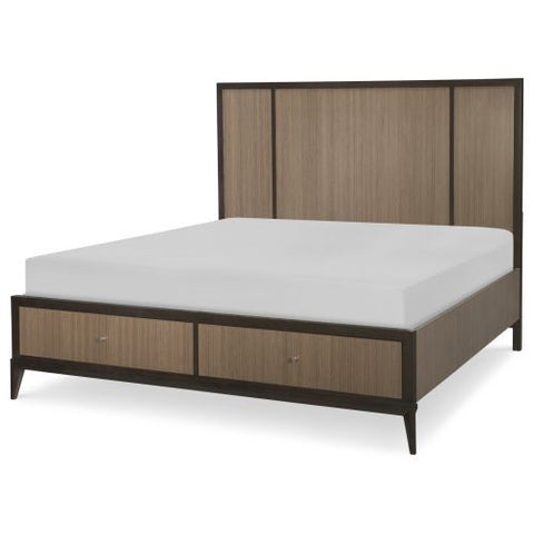 Legacy Urban Rhythm Panel Bed w/Storage Footboard in Chocolate & Dark Chocolate