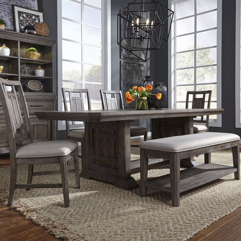 Liberty Artisan Prairie Opt 6 Piece Trestle Table Set