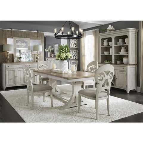 Liberty Farmhouse Reimagined 5 Piece Trestle Table Set