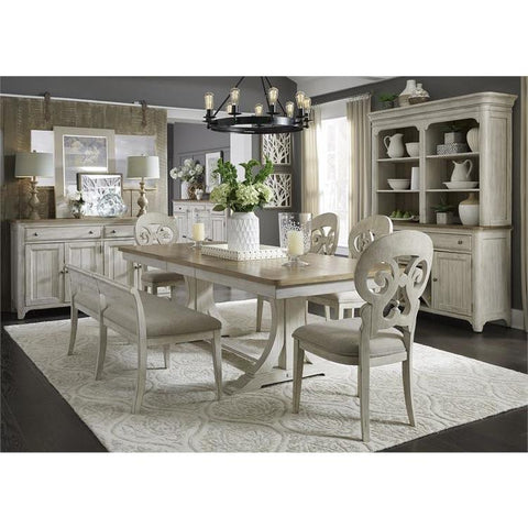 Liberty Farmhouse Reimagined 6 Piece Trestle Table Set
