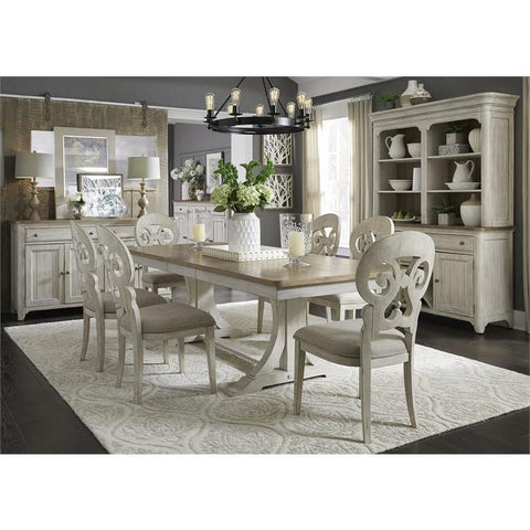 Liberty Farmhouse Reimagined 7 Piece Trestle Table Set