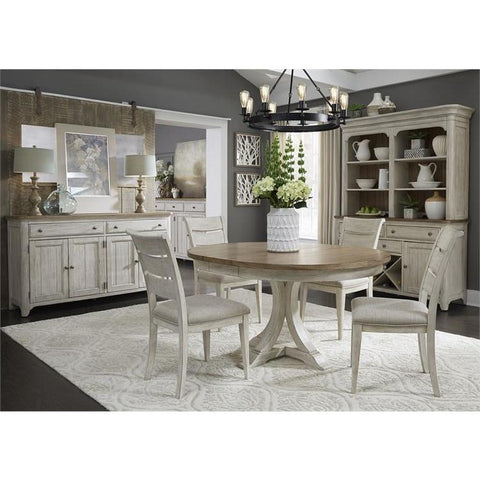 Liberty Farmhouse Reimagined Opt 5 Piece Pedestal Table Set