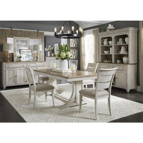 Liberty Farmhouse Reimagined Opt 5 Piece Trestle Table Set