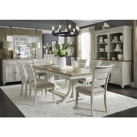 Liberty Farmhouse Reimagined Opt 7 Piece Trestle Table Set