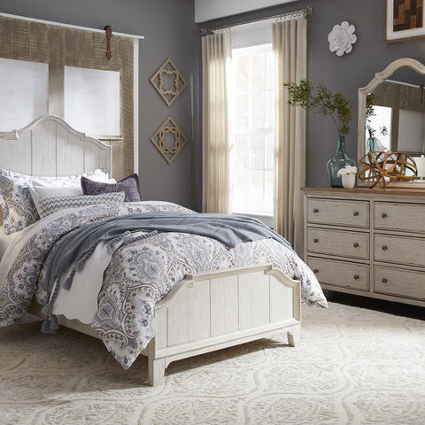 Liberty Farmhouse Reimagined Twin Panel Bed, Dresser & Mirror