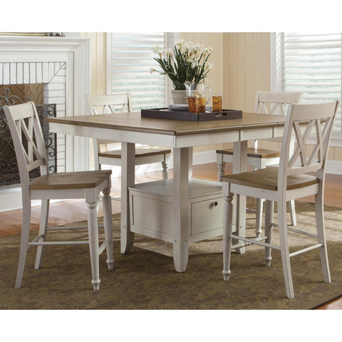 Liberty Furniture Al Fresco Opt 5 Piece Gathering Table Set in Driftwood and Sand Finish