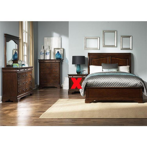 Liberty Furniture Alexandria Sleigh Bed & Dresser & Mirror & Chest in Autumn Brown Finish