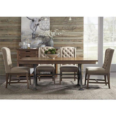 Liberty Furniture Arlington House 5 Piece Trestle Dining Table Set w/Upholstered Chairs