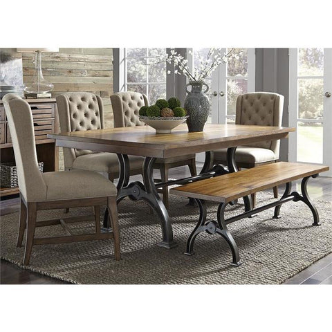 Liberty Furniture Arlington House 6 Piece Trestle Dining Table Set w/Upholstered Chairs