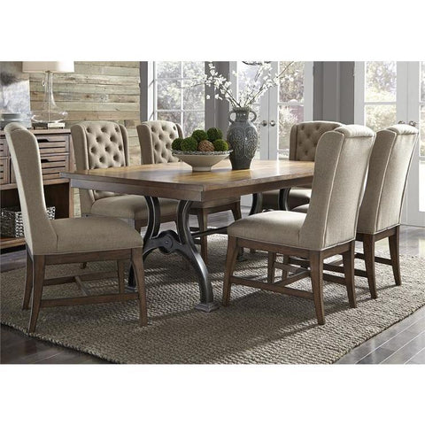 Liberty Furniture Arlington House 7 Piece Trestle Dining Table Set w/Upholstered Chairs