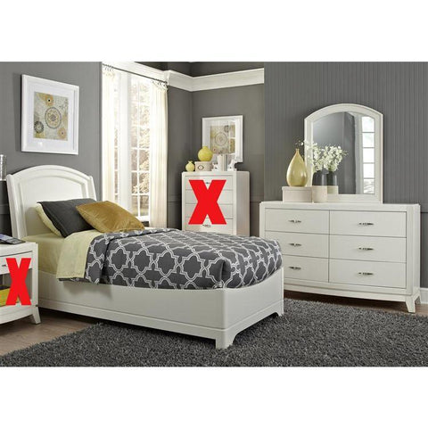 Liberty Furniture Avalon Platform Bed & Dresser & Mirror in White Truffle Finish
