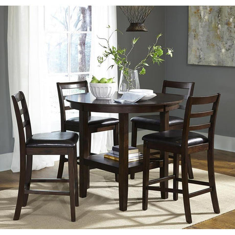 Liberty Furniture Bradshaw 5 Piece Round Pub Table Set in Russet