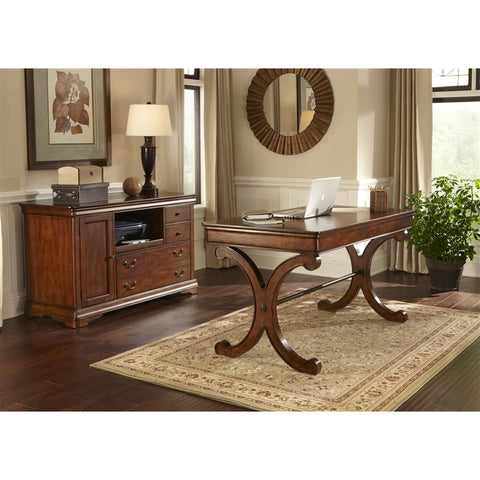 Liberty Furniture Brookview 4 Piece Desk Set in Rustic Cherry Finish