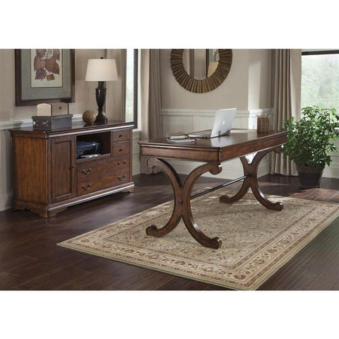 Liberty Furniture Brookview Complete Desk in Rustic Cherry Finish