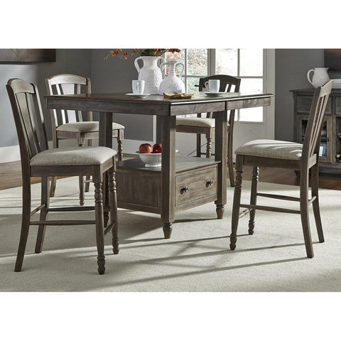 Liberty Furniture Candlewood 5 Piece Gathering Table Set in Weather Gray