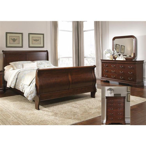 Liberty Furniture Carriage Court Sleigh Bed & Dresser & Mirror & Chest in Mahogany Stain Finish