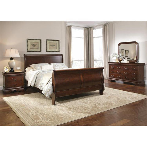 Liberty Furniture Carriage Court Sleigh Bed & Dresser & Mirror & Nightstand in Mahogany Stain Finish