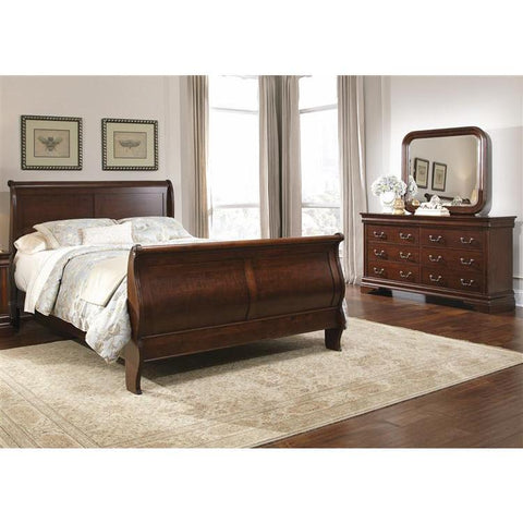 Liberty Furniture Carriage Court Sleigh Bed & Dresser & Mirror in Mahogany Stain Finish