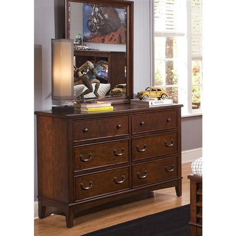 Liberty Furniture Chelsea Square Dresser & Mirror in Burnished Tobacco