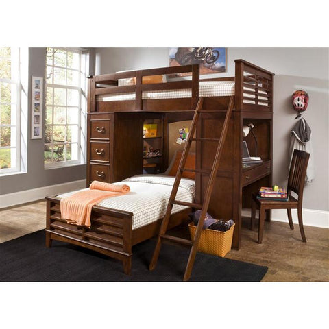 Liberty Furniture Chelsea Square Twin Loft Bed w Cork Bed in Burnished Tobacco