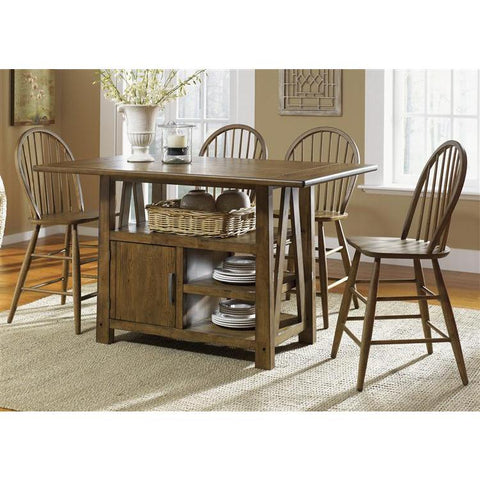 Liberty Furniture Farmhouse 5 Piece Gathering Table Set in Weathered Oak Finish