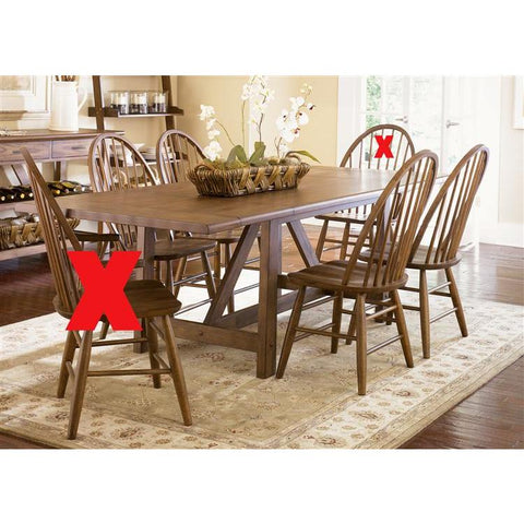 Liberty Furniture Farmhouse 5 Piece Trestle Table Set in Weathered Oak Finish