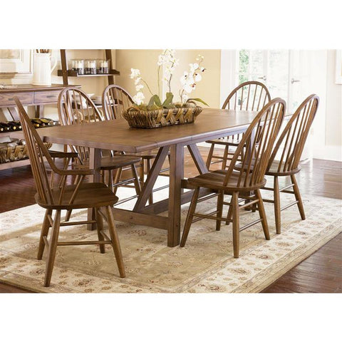 Liberty Furniture Farmhouse 7 Piece Trestle Table Set in Weathered Oak Finish