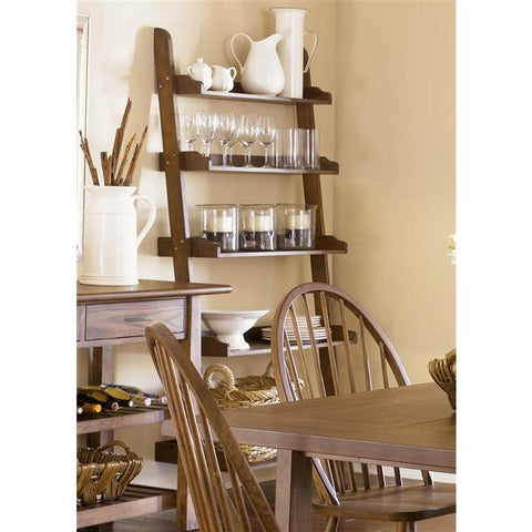 Liberty Furniture Farmhouse Leaning Bookcase in Weathered Oak Finish