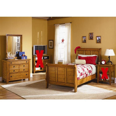 Liberty Furniture Grandpa's Cabin Sleigh Bed & Dresser & Mirror in Aged Oak Finish