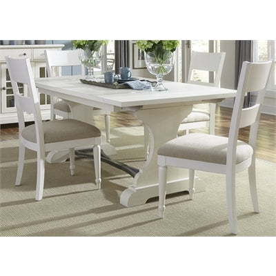 Liberty Furniture Harbor View 5 Piece Trestle Table Set in Linen Finish