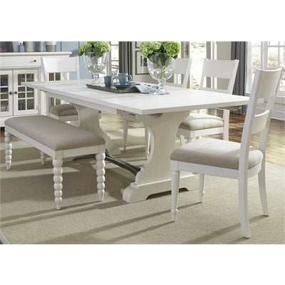 Liberty Furniture Harbor View 6 Piece Trestle Table Set in Linen Finish