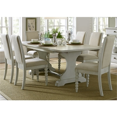 Liberty Furniture Harbor View Opt 7 Piece Trestle Table Set in Dove Gray Finish
